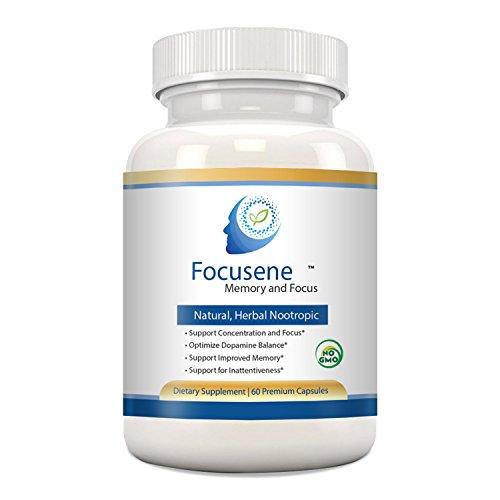 Mental Focus Supplement – Focusene. Caffeine-free brain support supplement for Brain Enhancement, Memory Loss, Focus and Energy. Non-addictive brain boosters. Improve brain function with Nootropics,60 Premium Capsules