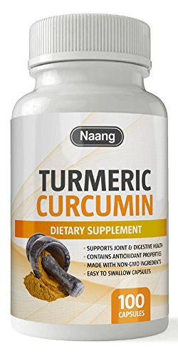 Turmeric Curcumin Supplement 400mg of 95% Curcuminoids and Curcuma Longa – Premium Joint Support, Pain Relief, Depression and Mood Enhancer, Contains 100 Capsules by Naang