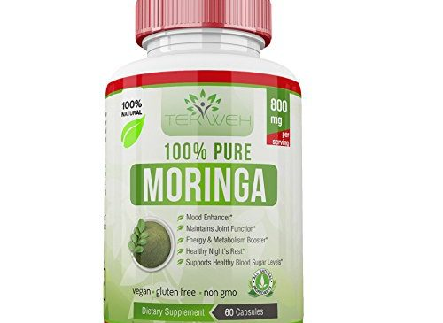 Moringa Oleifera – 100% Pure Leaf Extract Dietary Supplement 800mg capsules | Mood Enhancer | Boosts Weight Loss, Energy and Metabolism | Reduces Stress