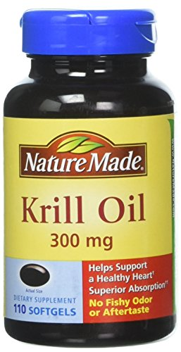 Nature Made Krill Oil, 100% Pure, Supports Optimal Brain, Memory, Energy, Focus, Joint and Cardiovascular Health, Mood Enhancer, 110 Softgels 300mg Omega-3 Fish Oil, Contains Astaxanthin, EPA, DHA