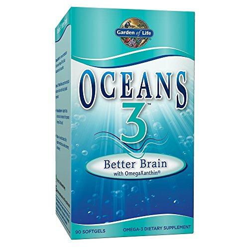 Garden of Life Ultra Pure EPA/DHA Omega 3 Fish Oil – Oceans 3 Better Brain Supplement with Antioxidants, 90 Softgels