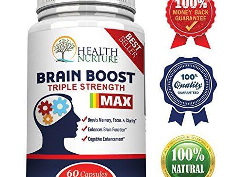 HEALTH NURTURE BRAIN BOOST MAXIMUM STRENGTH – Best Brain Supplement – Nootropics Brain Booster, Memory Support,Vitamins for Brain Health, Best Mind Supplements, Focus,Clarity & Cognitive Function