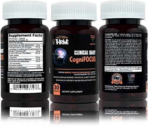 CLINICAL DAILY Cognifocus. Nootropic memory brain supplement. Premium mind supplement with Ginkgo Biloba, Bacopa, Huperzine, Vinpocetine. Supports alertness, focus and clarity. 1 mo supply