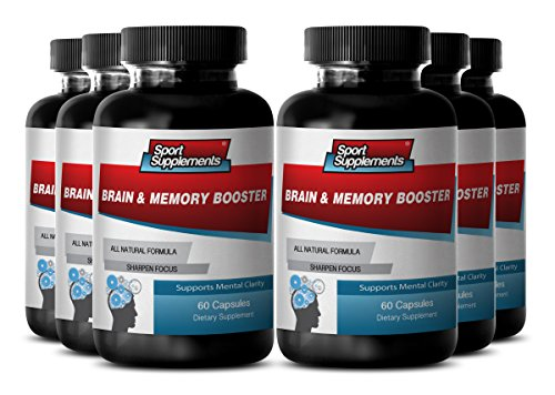 Organic Brain Supplement for Adults – Brain and Memory Booster – Natural Brain Health and Memory Enhancement with Herbs (6 Bottles 360 Capsules)