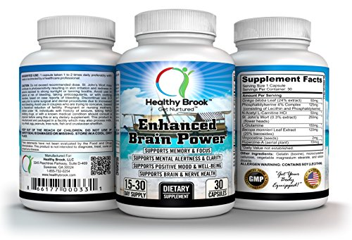 Nootropic Brain Booster, Memory Booster, Cognitive Enhancement, Brain Booster, Enhanced Brain Power, Acetyl L-Carnitine, Ginkgo Biloba, Phosphatidylserine, St.John's Wort, Vinpocetine, Huperzine-A, 30