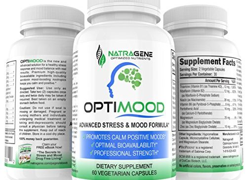 OPTIMOOD Serotonin Mood Enhancer for Anxiety Relief & Stress Support. Brain Health, Nootropics & Natural Antidepressant, Mood Booster, 5HTP, L-Theanine, Rhodiola, Ashwaghanda, Tumeric, Saffron, Bacopa