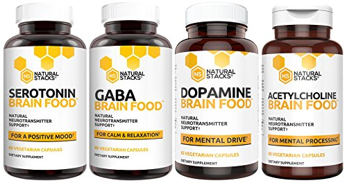 Brain Supplement – Natural Stacks – Brain Food Box – 30 Day Supply – Dopamine, Serotonin, Acetylcholine, and Gaba Brain Food – Improves Mood, Focus, Relaxation and Restorative Sleep