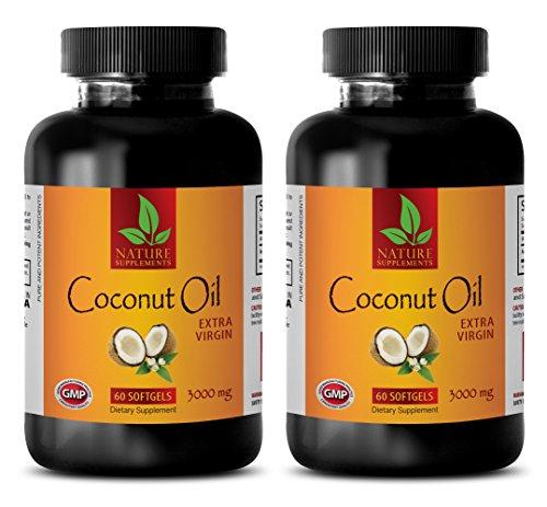 Fat burner energy pills – EXTRA VIRGIN COCONUT OIL 3000mg – Coconut oil pills for memory – 2 Bottles 120 Softgels