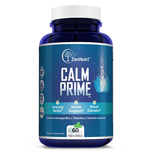 Calm Support, Anti Anxiety, Stress Relief, Mood Enhancer Supplement – Natural Vegan Formula – Premium Calming Ingredients – Magnesium, Ashwagandha, L-Theanine, Turmeric Curcumin and More, 60 count